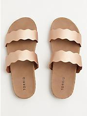 Rose Gold Faux Leather Scalloped Dual Strap Espadrille Slide (WW), ROSE GOLD, alternate