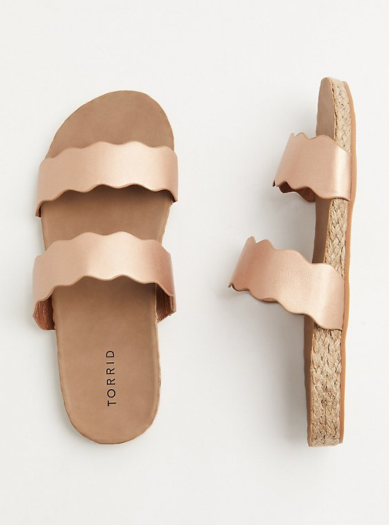 Plus Size Rose Gold Faux Leather Scalloped Dual Strap Espadrille Slide (WW), , hi-res