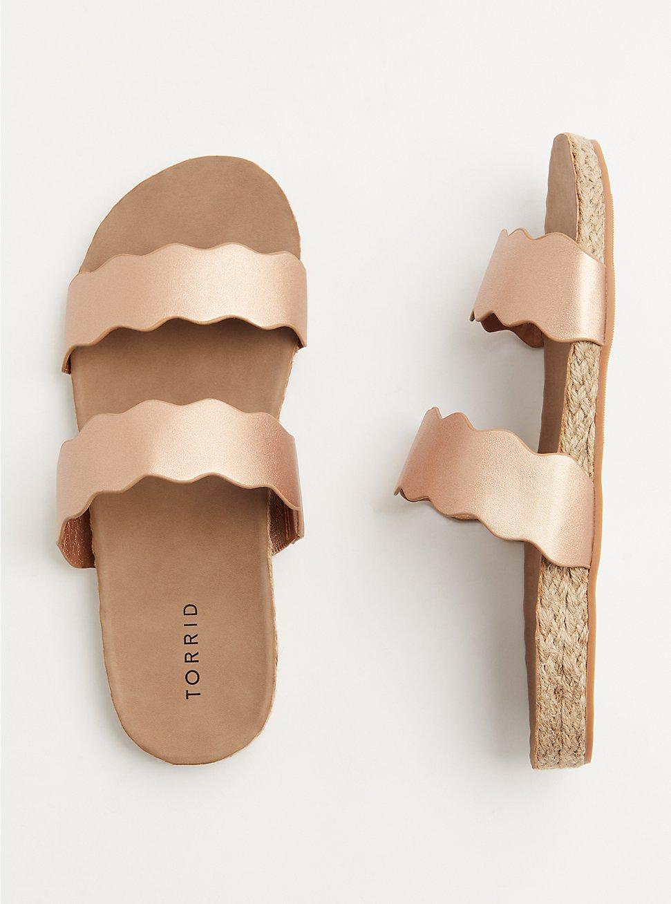 Rose Gold Faux Leather Scalloped Dual Strap Espadrille Slide (WW), ROSE GOLD, hi-res