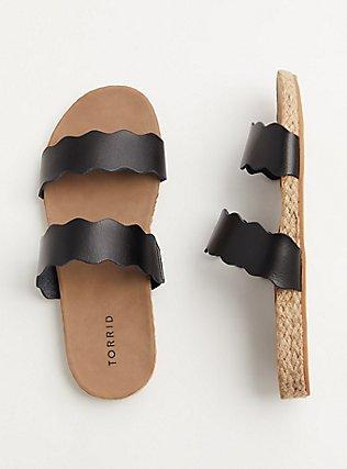 Plus Size Black Faux Leather Scalloped Dual Strap Espadrille Slide (WW), BLACK, alternate