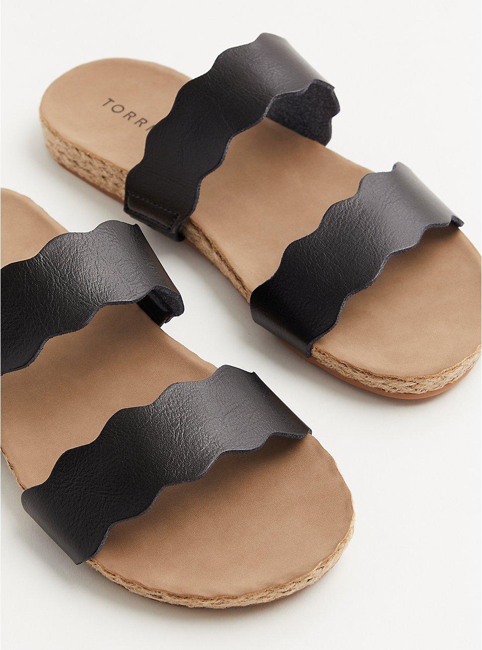 Black Faux Leather Scalloped Dual Strap Espadrille Slide (WW), BLACK, hi-res