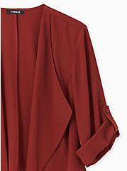 Plus Size Brick Red Crepe Drape Front Blazer, MADDER BROWN, alternate