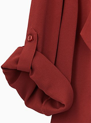 Brick Red Crepe Drape Front Blazer, MADDER BROWN, alternate