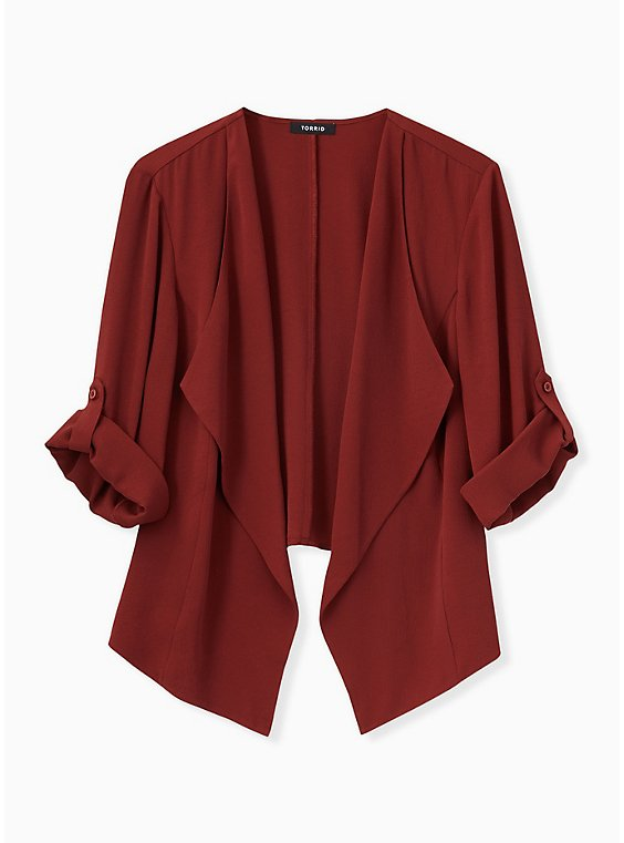Plus Size Brick Red Crepe Drape Front Blazer, , hi-res