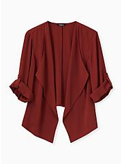 Brick Red Crepe Drape Front Blazer, MADDER BROWN, hi-res