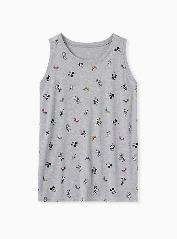 Disney Mickey Mouse & Friends Rainbow Grey Crew Tank, , hi-res