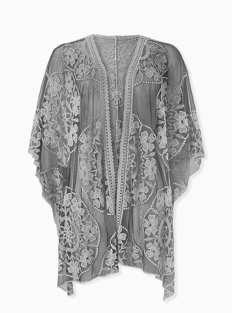 Black Mesh & White Embroidered Ruana, , hi-res