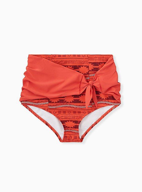 Disney Moana Orange Geo High Waist Tie-Front Swim Bottom, MULTI, hi-res
