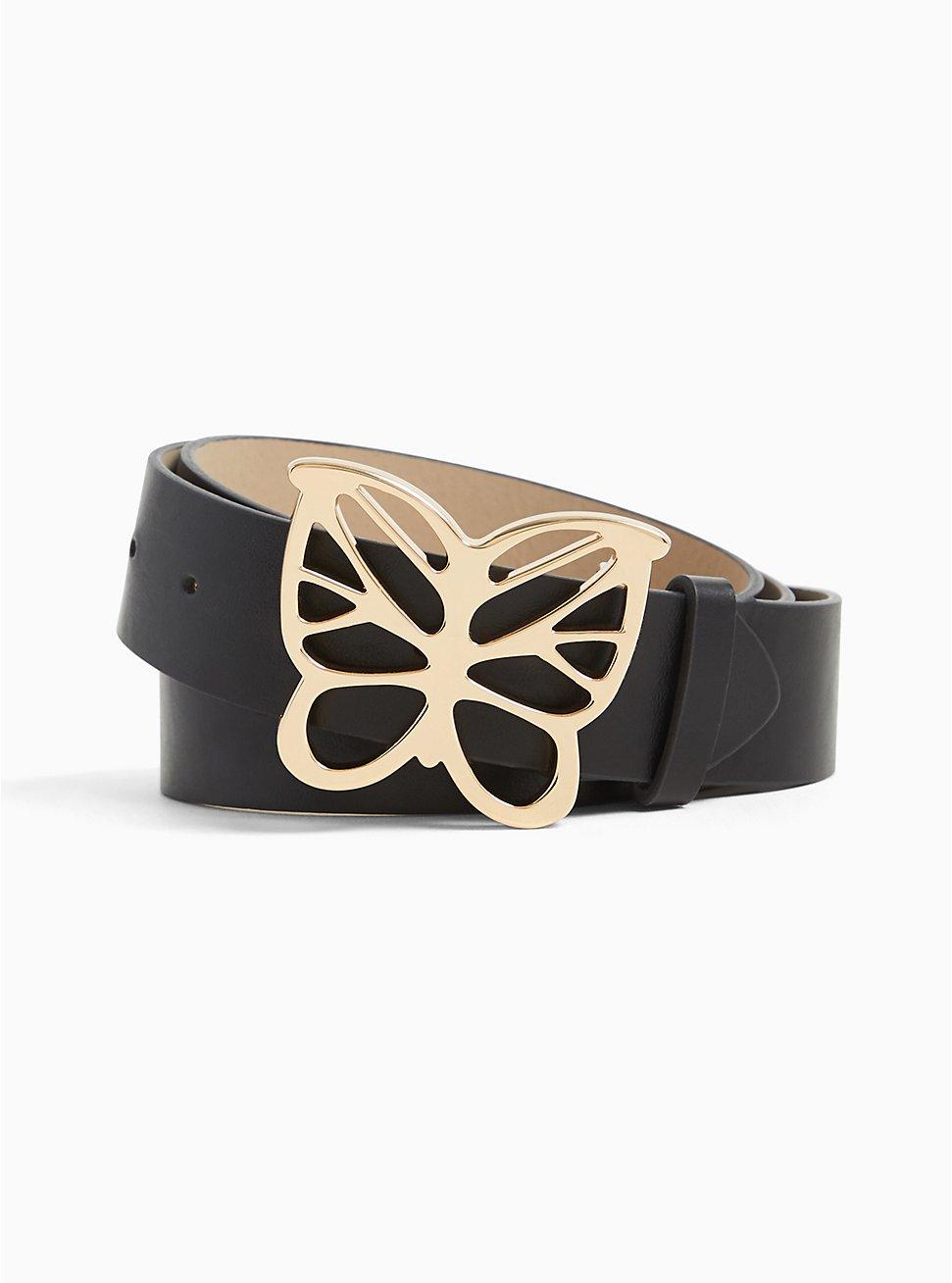 Plus Size Black Faux Leather Butterfly Buckle Belt, BLACK, hi-res