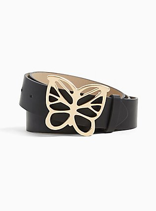 Black Faux Leather Butterfly Buckle Belt, BLACK, hi-res