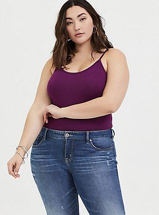 Berry Purple Scoop Neck Foxy Cami Bodysuit, DARK PURPLE, hi-res