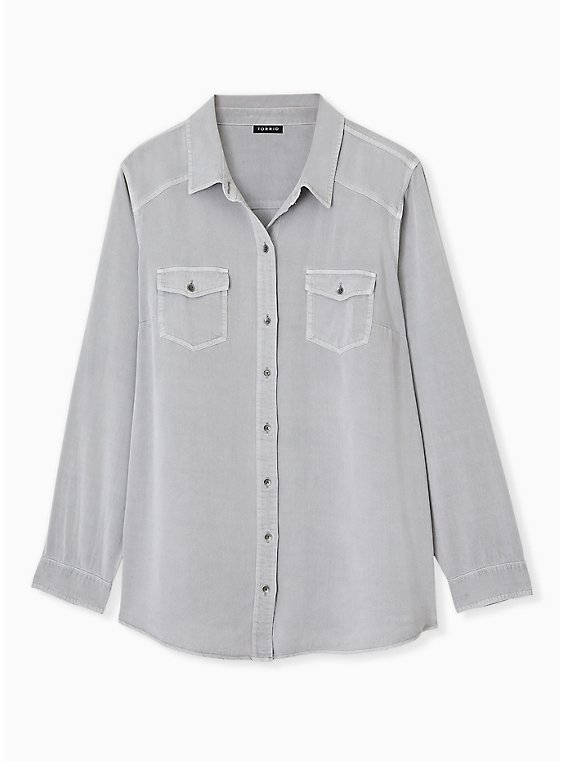 Plus Size Taylor - Grey Acid Wash Twill Button Front Classic Fit Shirt , , hi-res