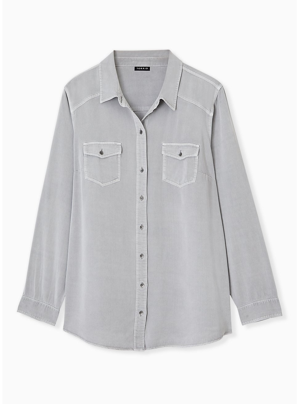 Taylor - Grey Acid Wash Twill Button Front Classic Fit Shirt , FROST GRAY, hi-res