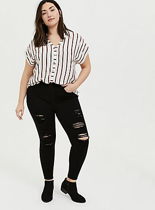 White & Red Stripe Button Front Dolman Top, STRIPES, alternate