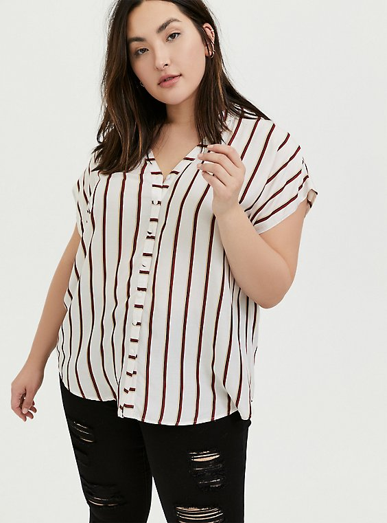 White & Red Stripe Button Front Dolman Top, , hi-res