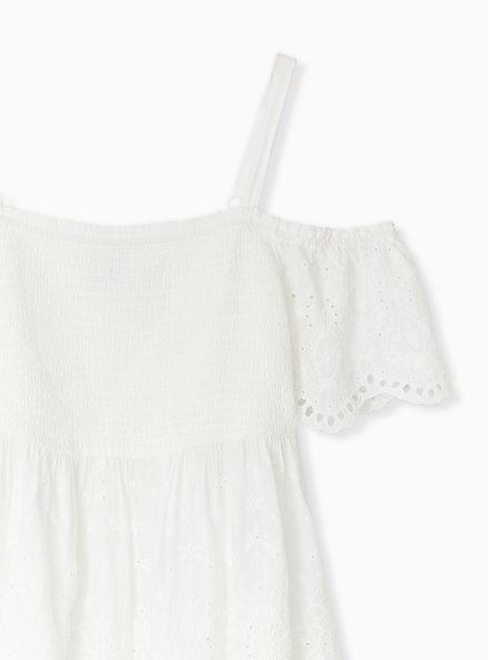 White Eyelet Smocked Cold Shoulder Midi Babydoll Top, CLOUD DANCER, alternate