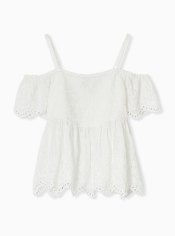 White Eyelet Smocked Cold Shoulder Midi Babydoll Top, , hi-res
