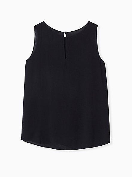 Plus Size Black Gauze Lace Inset Pintuck Tank, DEEP BLACK, alternate