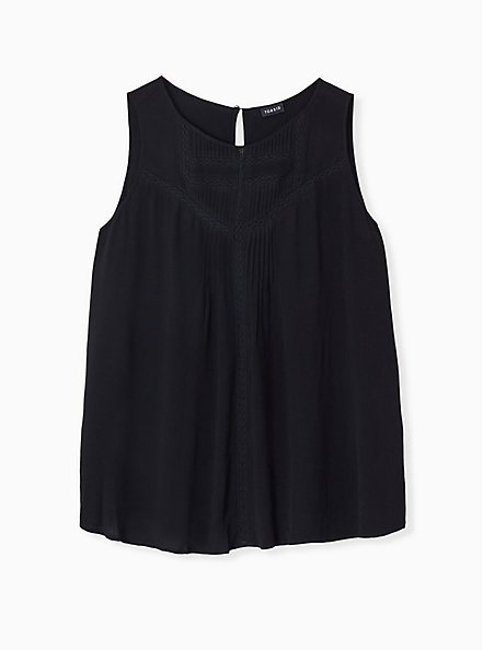 Plus Size Black Gauze Lace Inset Pintuck Tank, DEEP BLACK, hi-res