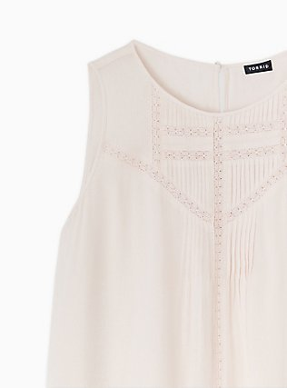Light Pink Gauze Crochet Inset Pintuck Tank, PEACH BLUSH, alternate