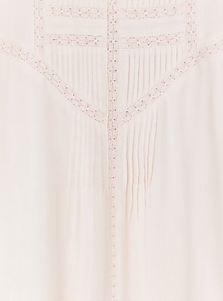 Plus Size Light Pink Gauze Crochet Inset Pintuck Tank, PEACH BLUSH, alternate