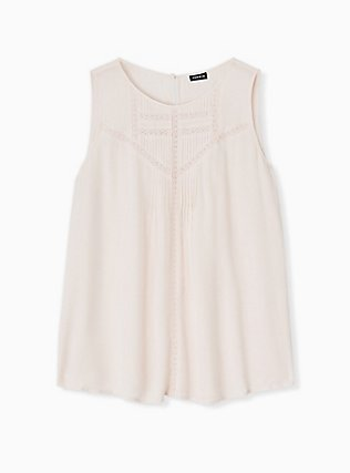 Plus Size Light Pink Gauze Crochet Inset Pintuck Tank, PEACH BLUSH, hi-res
