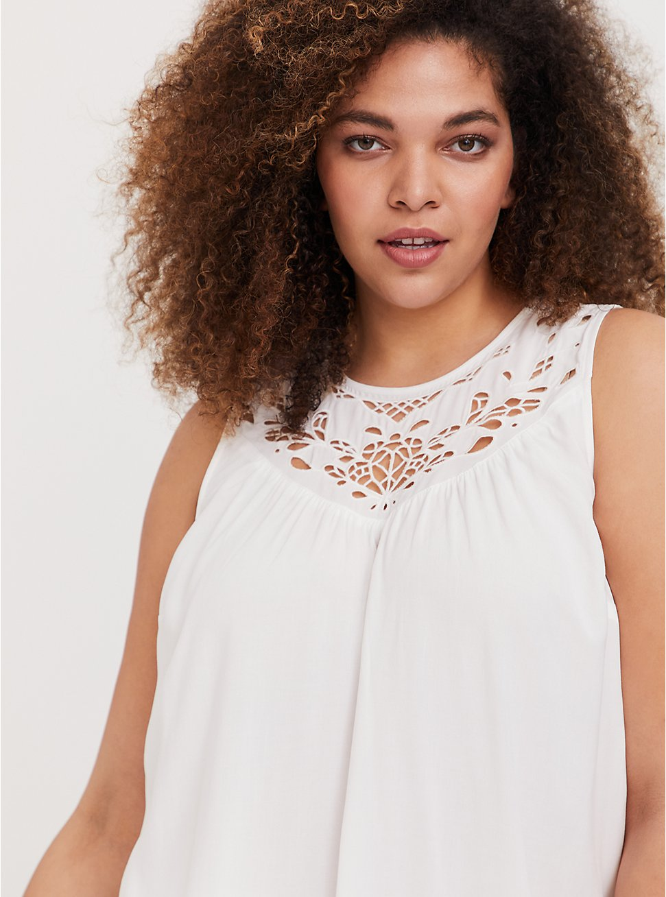 White Eyelet Challis Babydoll Top, CLOUD DANCER, hi-res