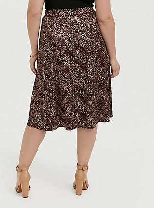 Leopard Satin A-Line Midi Slip Skirt, ANIMAL, alternate