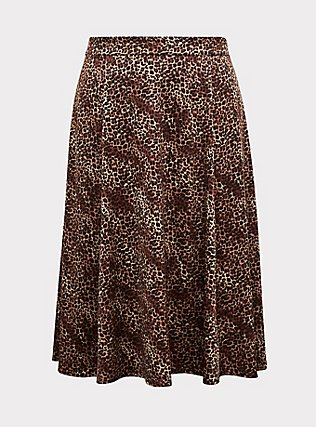 Leopard Satin A-Line Midi Slip Skirt, ANIMAL, flat