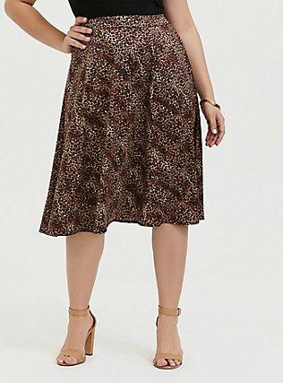 Leopard Satin A-Line Midi Slip Skirt, ANIMAL, hi-res