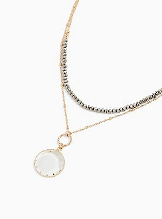 Plus Size Gold-Tone Faux Crystal Layered Necklace, , alternate