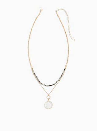 Plus Size Gold-Tone Faux Crystal Layered Necklace, , hi-res