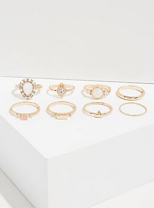 Plus Size Gold-Tone Faux Opal Teardrop Ring Set - Set of 8, GOLD, alternate