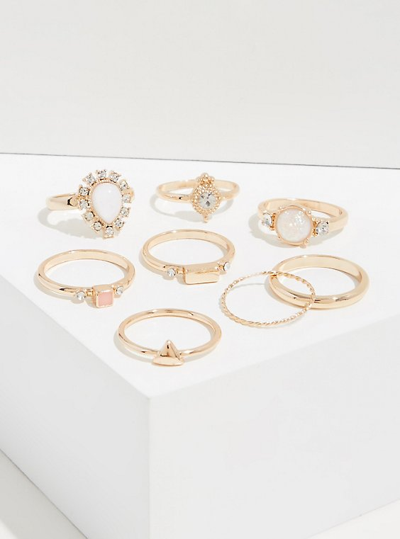 Gold-Tone Faux Opal Teardrop Ring Set - Set of 8, , hi-res