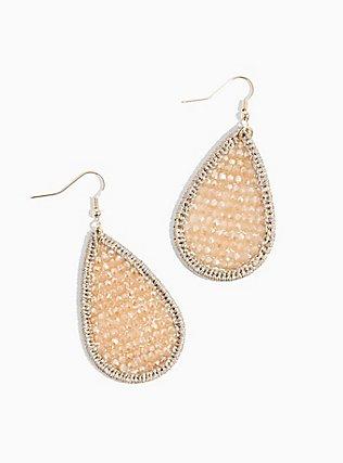 Plus Size Gold-Tone Blush Pink Beaded Teardrop Statement Earrings, , alternate