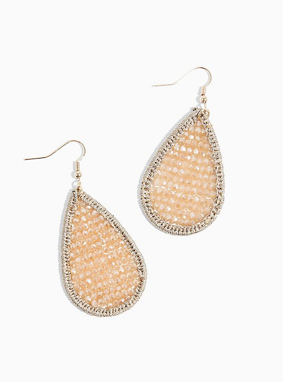 Gold-Tone Blush Pink Beaded Teardrop Statement Earrings, , hi-res