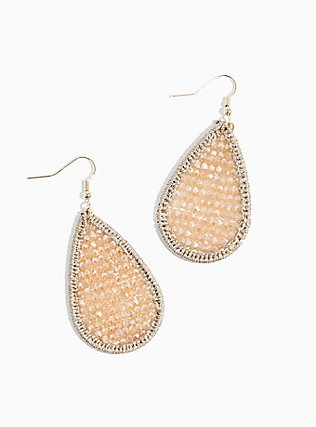 Plus Size Gold-Tone Blush Pink Beaded Teardrop Statement Earrings, , hi-res