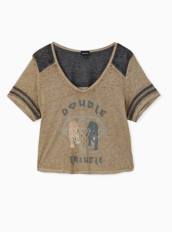 Double Trouble Olive Green Crop Football Tee, , hi-res