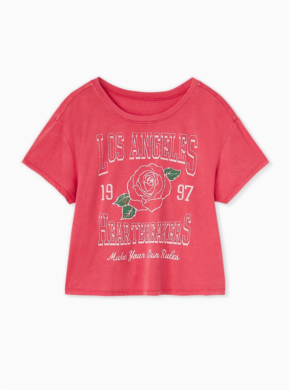 Plus Size Los Angeles Heartbreakers Red Crop Crew Tee, JESTER RED, hi-res