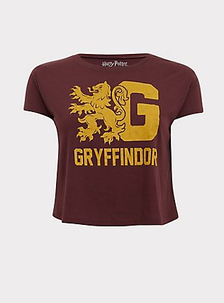 Harry Potter Gryffindor Burgundy Red Crop Tee, WINETASTING, flat