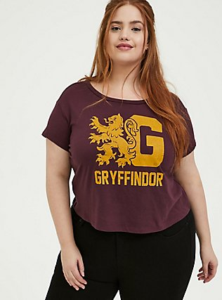 Harry Potter Gryffindor Burgundy Red Crop Tee, WINETASTING, hi-res