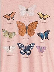 Heather Dusty Pink Butterfly Crew Tee, ROSE, alternate