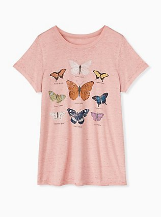 Heather Dusty Pink Butterfly Crew Tee, ROSE, hi-res