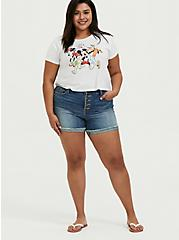 Disney Mickey Mouse & Friends White Crop Crew Tee, CLOUD DANCER, alternate