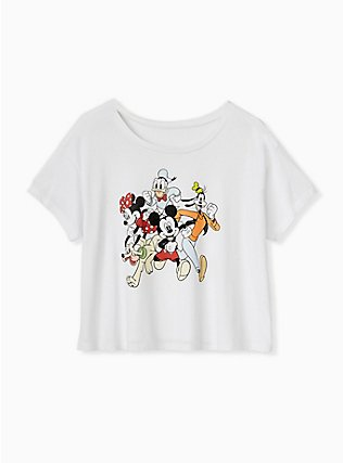 Disney Mickey Mouse & Friends White Crop Crew Tee, CLOUD DANCER, flat