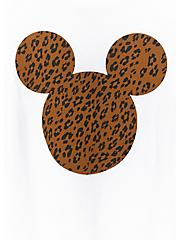 Plus Size Disney Mickey Mouse Leopard White Crop Crew Tee, CLOUD DANCER, alternate