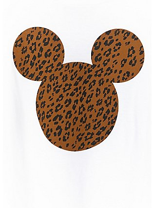 Disney Mickey Mouse Leopard White Crop Crew Tee, CLOUD DANCER, alternate