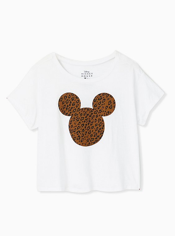 Plus Size Disney Mickey Mouse Leopard White Crop Crew Tee, CLOUD DANCER, hi-res