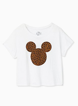 Disney Mickey Mouse Leopard White Crop Crew Tee, CLOUD DANCER, hi-res