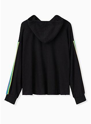Disney Mickey Mouse Rainbow Black Crop Hoodie, DEEP BLACK, alternate